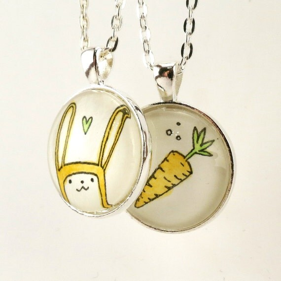 Best Friend Necklaces, Bunny Rabbit And Carrot Matching Best Friend Jewelry, TWO pendants
