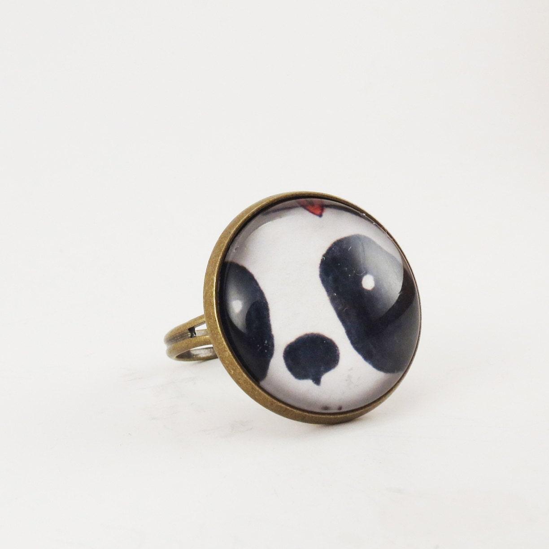 kawaii panda ring jewelry black and white