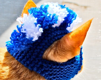 Mohawk Cat Hat - Blue and White - Hand Knit Cat Costume