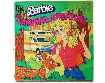 Barbie book and vinyl record,  Camping Adventure, Kids Stuff Records, 80's Barbie collectibles, See Hear Read,