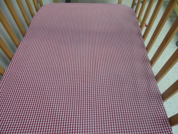 Red Gingham Cotton Crib/Toddler Fitted Sheet,(Navy Blue also available)
