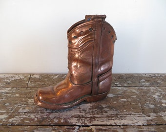Bronzed Childs Cowboy Boot Antique Bronze Western Decor Cabin Decor Rustic Decor Bronze Decor Rustic Decor Bookend