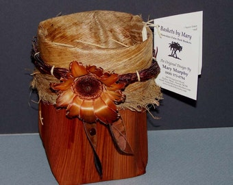 Mary Murphy Hawaiian Palm Bark Handmade Basket - Maui