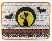 Halloween Holiday Card: Black Cat Bats