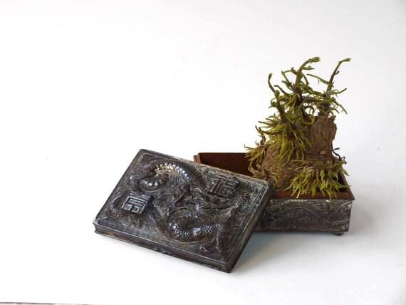 Silverplate dragon box, Made in Japan