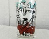 Vintage London Drinking Glass Tumbler Aqua Brown London Bridge Castle Swing Dancers