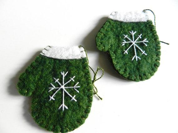 Handmade Christmas Wool Felt Ornament Snowflake on Mitten Set of 2 GREEN