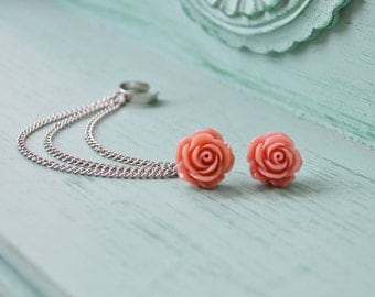 Dark Blush Rose Bloom Triple Silver Chain Ear Cuff (Pair)
