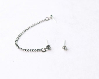 Silver Crystal Single Chain Cartilage Earring (Pair)