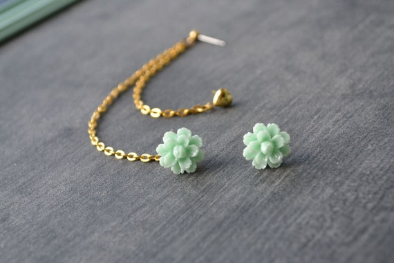 Mint Green Carnation and Heart Multiple Pierce Gold Cartilage Earrings (Pair)