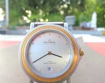 SKAGEN Two-Tone Watch w/ Silvertone Mesh Bracelet