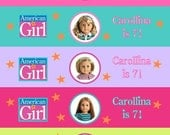 American girl doll birthday party WATER BOTTLE LABELS  Printable You choose Doll Personalized