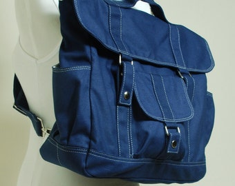 Pico2 Backpack,  BIG SALE - Navy Blue / Canvas Satchel / Rucksack / Backpack / Diaper Bag/ School Backpack/ Women/ For Him, 40% Off