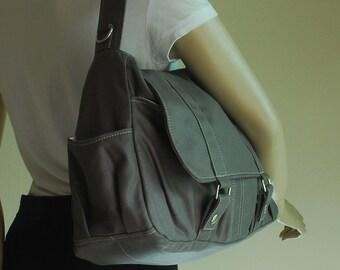 Pico2, Waxed Canvas Grey, School Bag, Shoulder Bag, Messenger Bag, Diaper Bag, Women, Canvas School bag, crossbody bag, Handbag