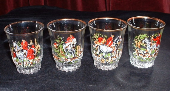 vintage set of 4 hunting scene drinking glasses