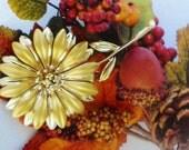 Mod Sunflower Gold Enamel Fall Flower Brooch XL