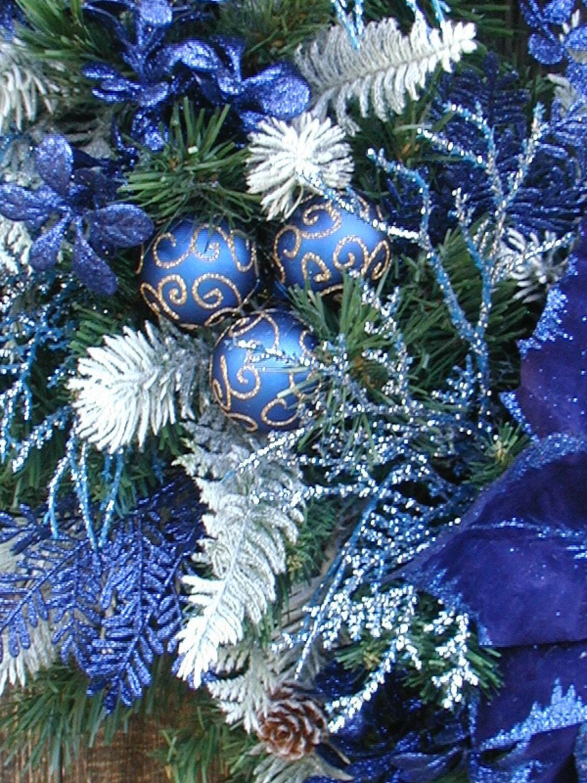 Christmas Wreath Winter Wreath Royal Navy Blue By Petalsnpicks