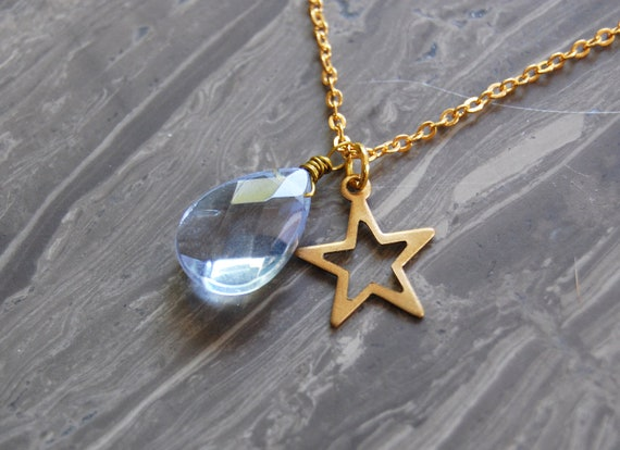 Faceted Light Blue Gemstone Tear Drop with Gold Star Charm Necklace