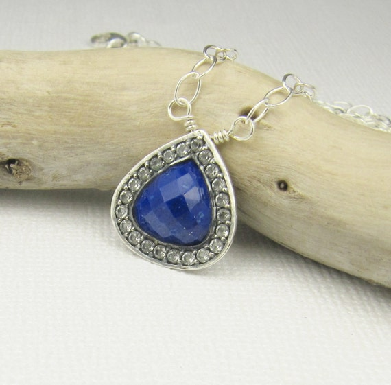 Lapis Necklace, White Topaz Necklace, Lapis Pendant, Pendant Necklace, Gemstone Jewelry, Sterling Silver Jewelry Handmade, Lapis Jewelry