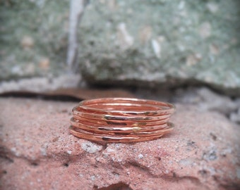 Hammered Stack Rings- Rose Gold Filled set of 3 hammered rings