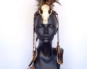 MADE TO ORDER Midsize Skull Warrior Feather Mohawk