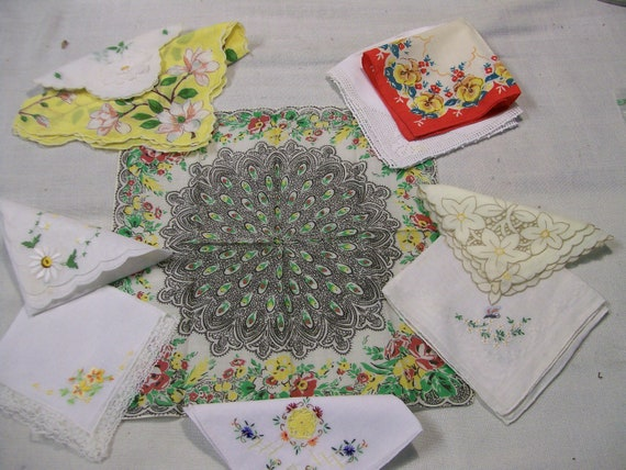10 Vintage Hankerchiefs in Yellows and Greens Free Shipping