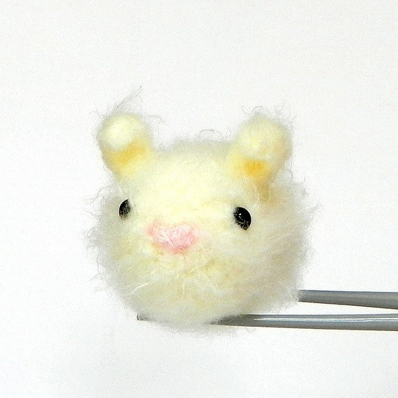 Cream Bunny MochiQtie - Amigurumi mochi size mini toy doll - crochet amigurumi
