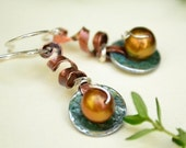 Washer Earrings - Copper -  Pearl - Sterling Silver