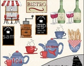 Le Bistro Clipart and Graphic Set, Restaurant Clipart, Wine Clipart, Dining Clipart - Digital Scrapbooking Kit
