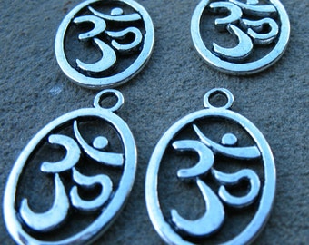 40 Silver Om Charms 22mm Antiqued Silver