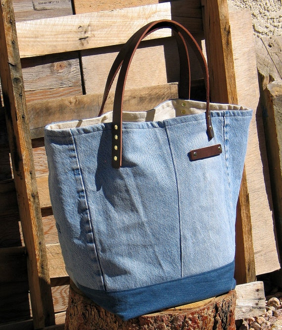 Eco-friendly Recycled Denim and Leather Tote
