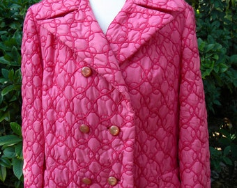 1970s Embroidered HOT PINK Quilted Ladies COAT