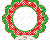 Christmas Fancy Scallop Clipart Frames / Journal Tags - Instant Download