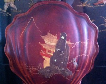 Rare Vintage Japanese Clamshell red lacquer serving tray with inlaid mother of pearl  home decor 17 x 12
