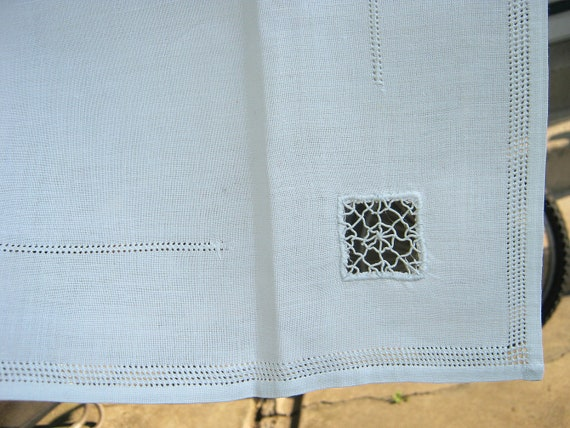 Vintage DRAWN THREAD TABLECLOTH Linen Table Linens Hand Work