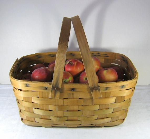 Vintage Orchard Basket Farm Rustic Picnic Patina Farmhouse