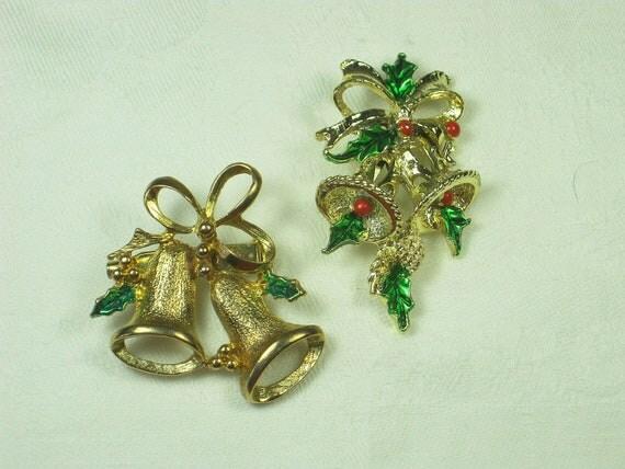 SALE  Vintage Christmas Pin Holiday Bells Brooch Enamel Set/2 Gerrys