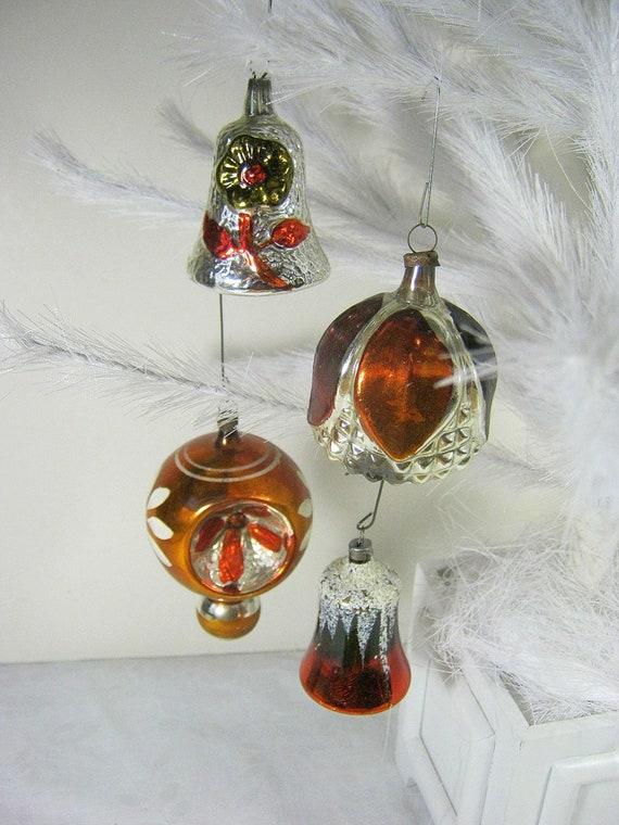 Vintage mercury glass ornaments copper by lavendergardencottag