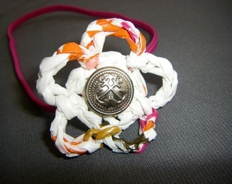 Plarn Flower Headband with Vintage Anchor Button - Hot Pink and White