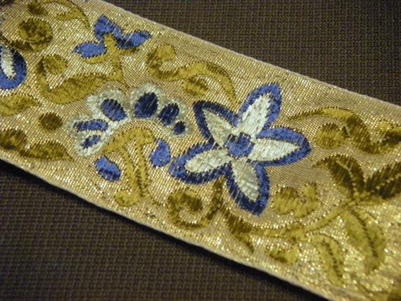 Blue and Gold Floral Jacquard Vintage Ribbon 3 yards