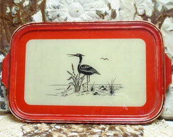 Red Black Antique Tray Bird Herron Reverse Painted