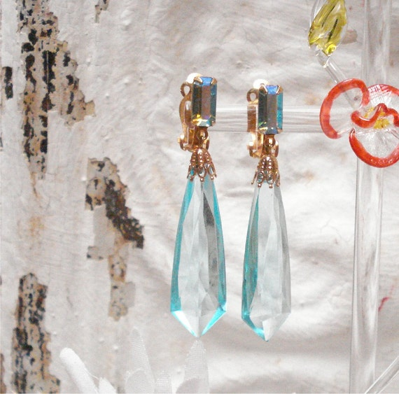 """Reserved  2 1/4"""" Lewis Segal Dangle Blue AB Crystal And Lucite Clip Earrings"""