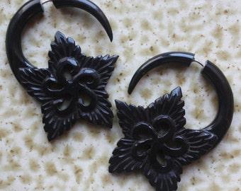 Fake Gauge Earrings - EDEN Flower - Hand Carved Natural Black Horn