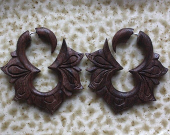 Hand Carved Fake Gauges - MAYA Flower Hoops - Natural Dark Brown Sono Wood - Tribal Earrings