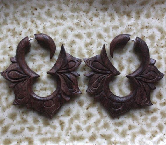 Hand Carved Fake Gauges - MAYA Flower Hoops - Natural Dark Brown Sono Wood - Tribal Earrings