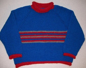 Blue and Red Stripe Toddler Pullover