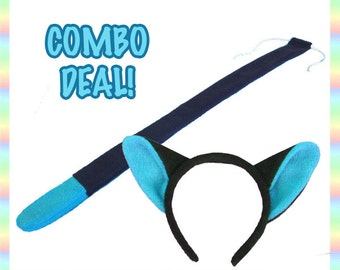 Black and Blue Cat Ears and Tail COMBO - Antipill Fleece, Cute Kitty Anime Animal Cosplay Costume