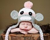 Sock Monkey Hat Newborn Photo Prop Baby Girl Crochet Sizes 0-3 Months 3-6 Months 6-12 Months