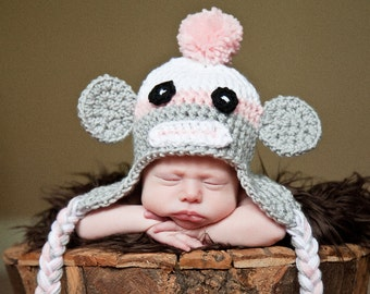 Sock Monkey Hat Newborn Photo Prop Baby Girl Crochet Sizes 0-3 Months 3-6 Months 6-12 Months