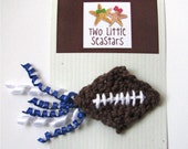 Crochet Football Hair Clip With Corkscrew Ribbons, CHOOSE YOUR COLORS